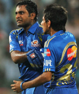 Mumbai Indians player Ambati Rayudu seems agitated