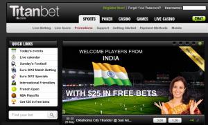 Snapshot of Titanbet India platform