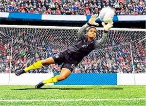 Lady goalkeeper catching the football