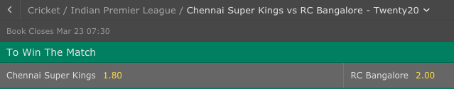 Chennai Super Kings vs RC Bangalore IPL odds