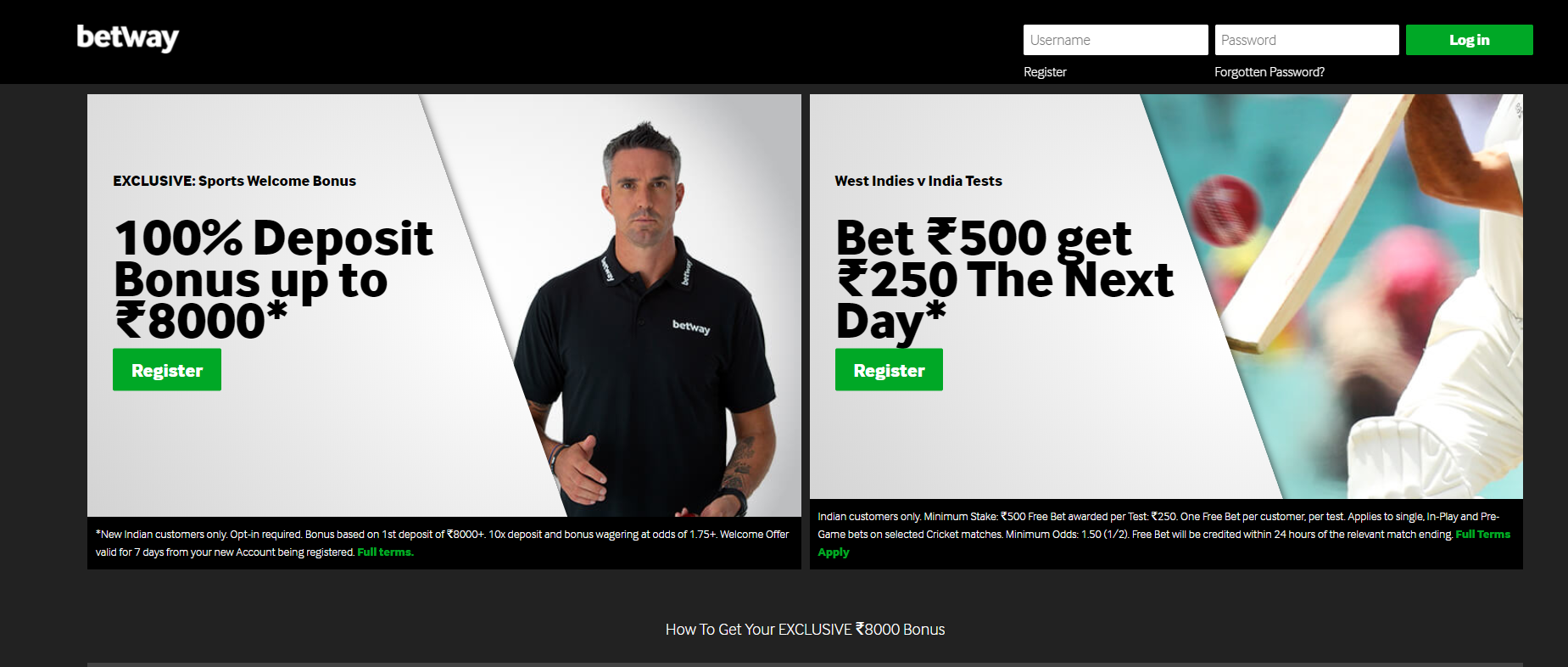 Get a 100% deposit bonus on Betway