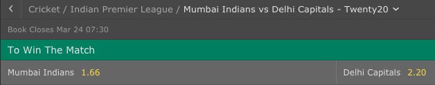 Mumbai Indians vs Delphi Capitals IPL odds