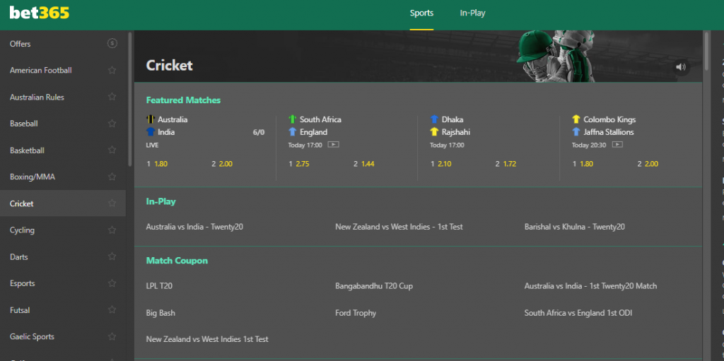 Bet365 cricket betting section