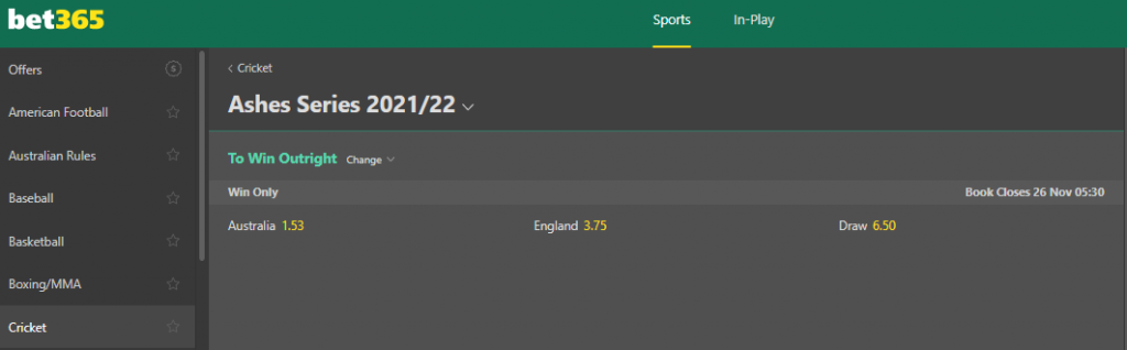 Bet365 futures betting for Ashes 2021/22