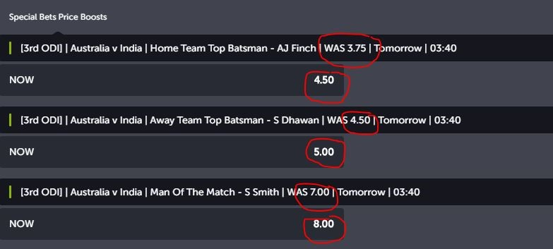 ComeOn's betting odds for AUS-IND cricket match