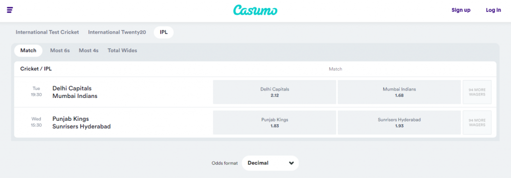 Casumo's IPL betting markets